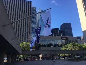 MNCFN flag at Toronto city hall