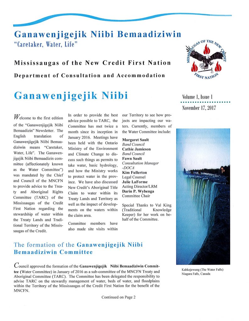 MNCFN Water Committee Newsletter