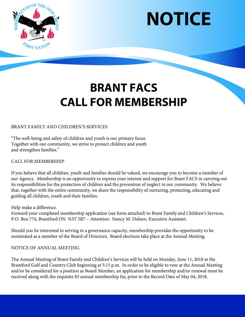 Application for membership on Brant FACS board