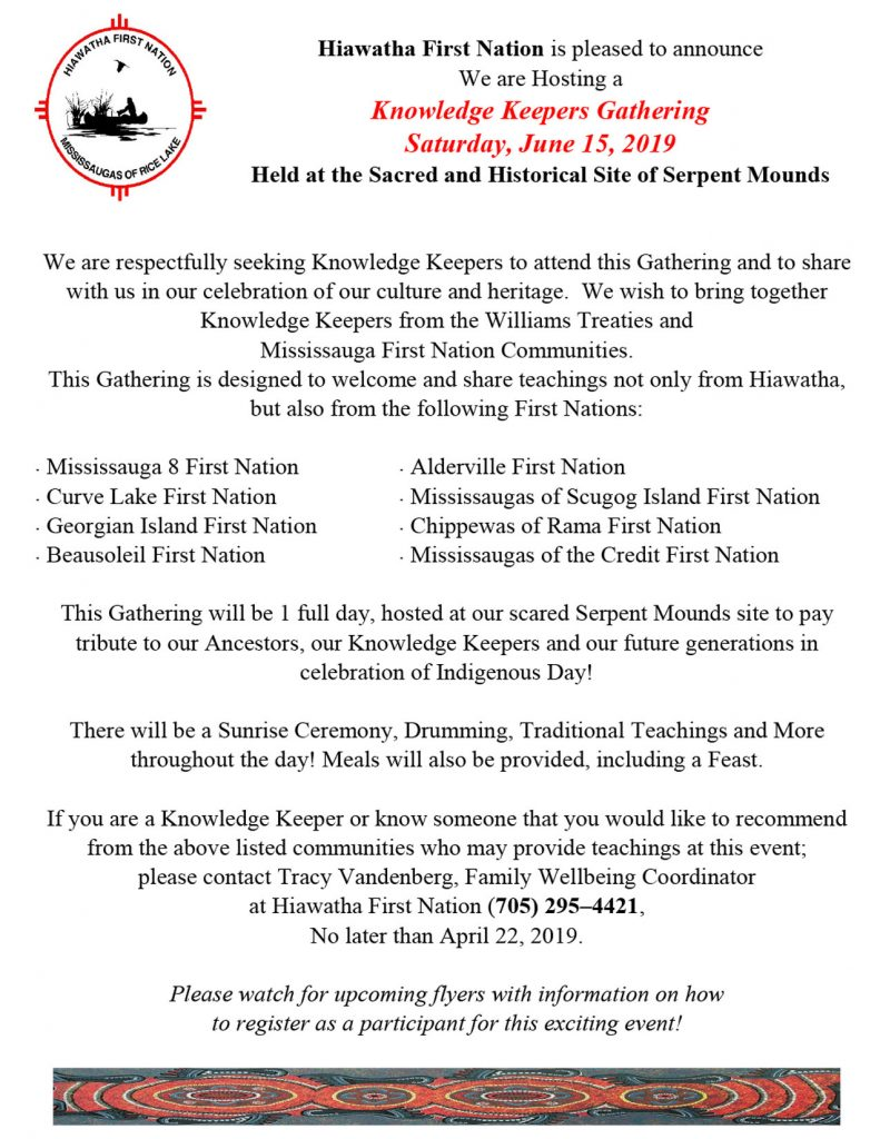 Knowledge Keepers Gathering – Mississaugas of the Credit