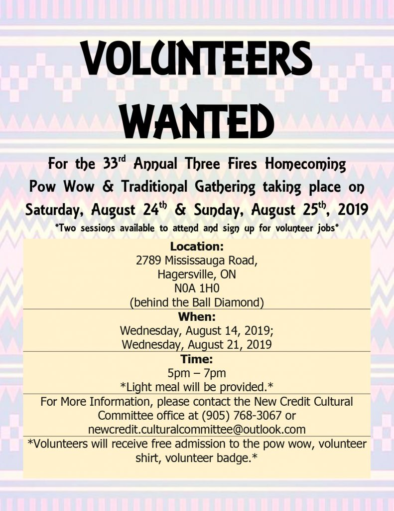 Volunteers Wanted – Three Fires Homecoming Pow Wow