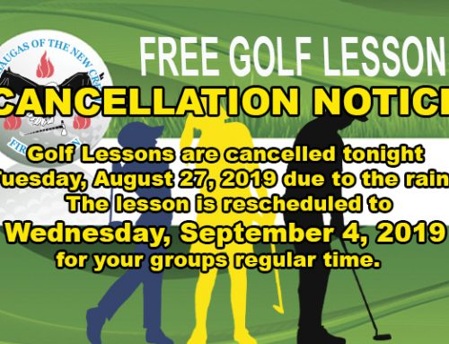 Cancellation Notice for Aug. 27 – Free Golf Lessons