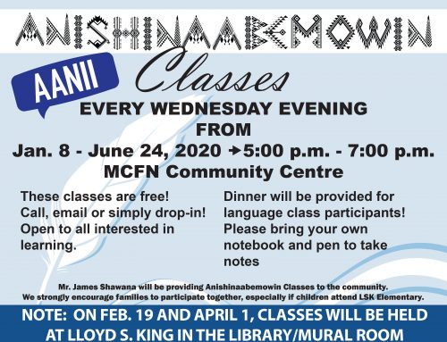 Anishinaabemowin Classes – Change of Venue