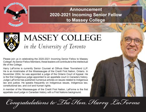 The Honourable Harry LaForme Welcomed as Senior Fellow at Massey College
