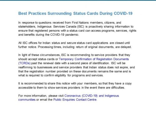 Best Practices Surrounding Status Cards via Indigenous Services Canada