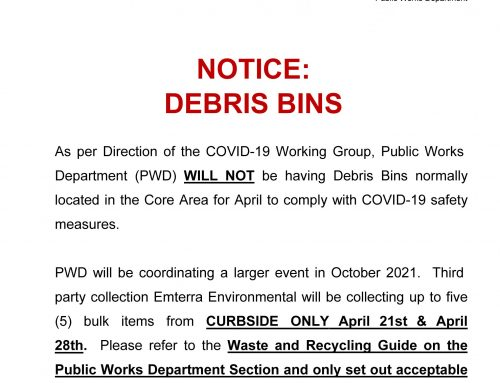 Public Works Department Notice: Debris Bins