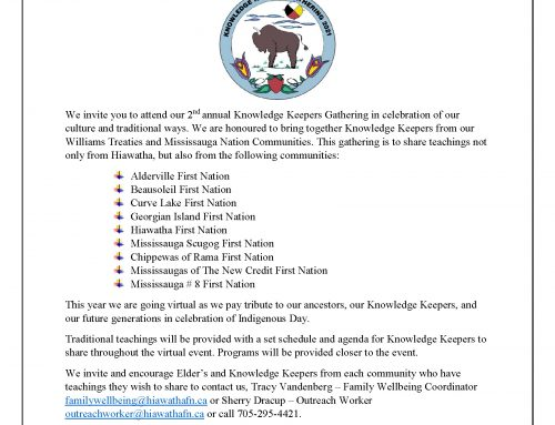 Hiawatha First Nation is hosting 2nd annual Knowledge Keepers Gathering Virtually – June 12, 2021