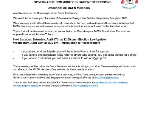 Upcoming Governance Engagement Sessions