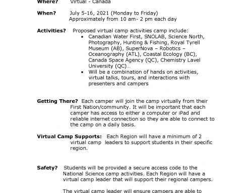 2021 NATIONAL VIRTUAL SCIENCE CAMP – ONTARIO REGION (Download Application Below)