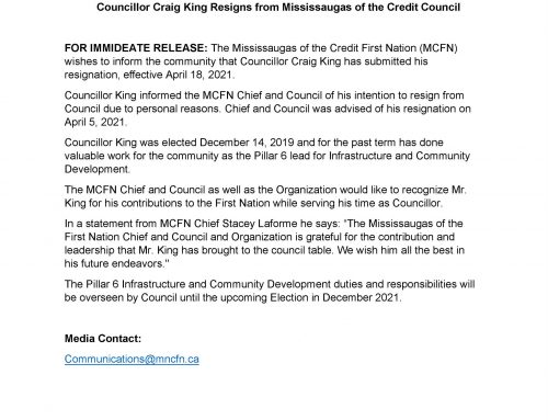 Councillor Craig King Resigns from MCFN Council