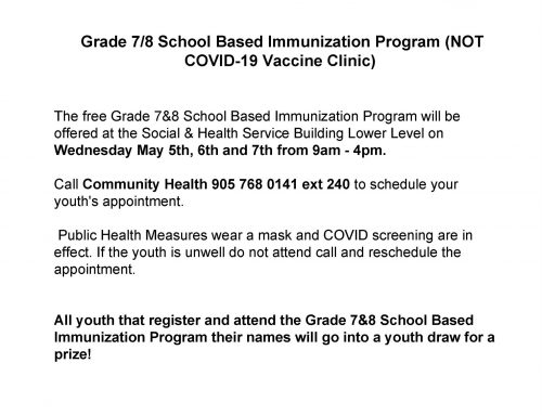 NOTICE: Grade 7/8 School Based Immunization Program (NOT COVID-19 Vaccine Clinic)