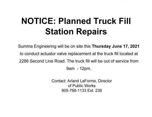 Planned Truckfill Station Repairs