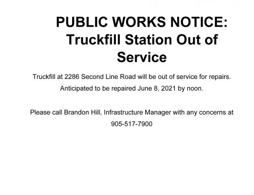 PUBLIC WORKS NOTICE: Truckfill Station Out of Service **UPDATE below**