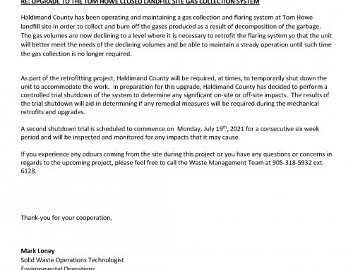 Flare Shutdown Letter from Haldimand County + Complaint form
