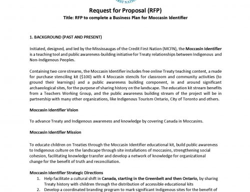 RFP to complete a Business Plan for Moccasin Identifier