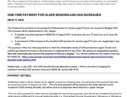 Service Canada –  One-Time Payment for older seniors and OAS increase