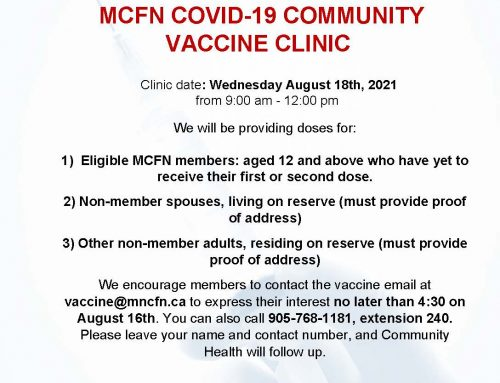 Vaccine Clinic notice – August 18th