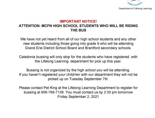 Important Notice for High School students riding the bus
