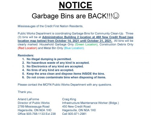 PW NOTICE: Garbage Bins are back
