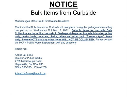 NOTICE: Curbside Bulk Items Collection