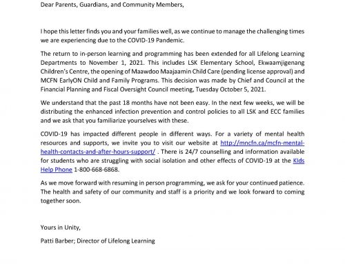 Letter from Department of Lifelong Learning: Return to in person learning and programming extended