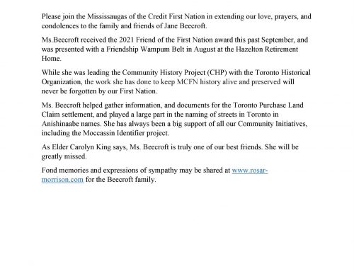 Statement from MCFN on Jane Beecroft